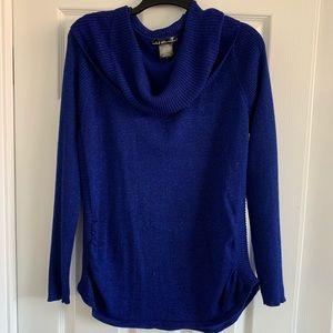 Sparkly Royal Blue Metallic Cowl Neck Sweater